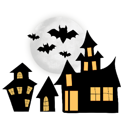 400x400 Haunted House Clipart Black