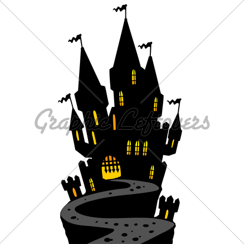 500x500 Castle On Hill Silhouette Gl Stock Images