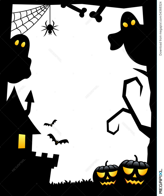 670x800 Halloween Silhouette Frame [1] Illustration 34368324