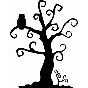 300x300 Halloween Spooky Tree Silhouette Photo Album. Scary Trees Drawing