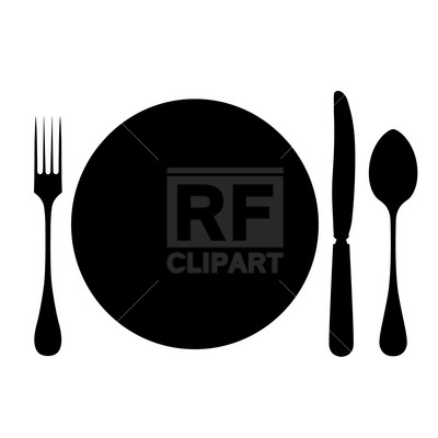 400x400 Plate, Fork, Spoon And Knife Free Vector Clip Art Image