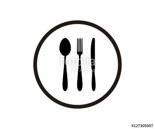 500x417 Silhouette Circle Fork Spoon Knife Icon Logo Design Stock Image