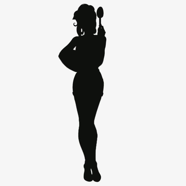 650x651 Silhouette Of A Woman Holding A Spoon Cartoon, Spoon, Cartoon