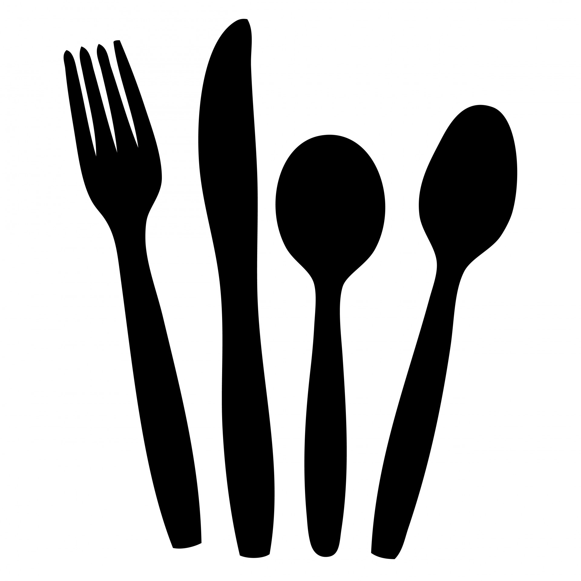 1920x1920 Cutlery Black Silhouette Clipart Free Stock Photo