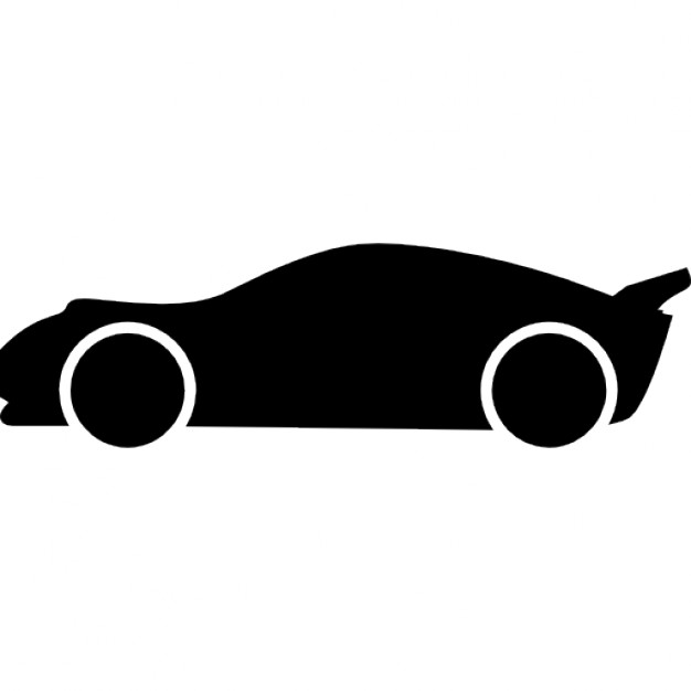 626x626 Lowered Racing Car Side View Silhouette Icons Free Download