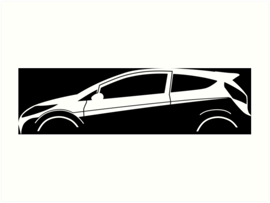 549x413 Car Silhouette For Ford Fiesta Mk7 Enthusiasts Art Prints By