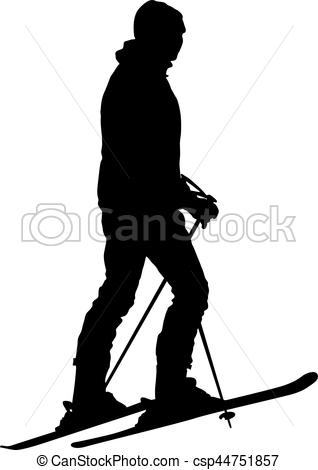 318x470 Skier Standing On The Snow. Vector Sport Silhouette. Clipart
