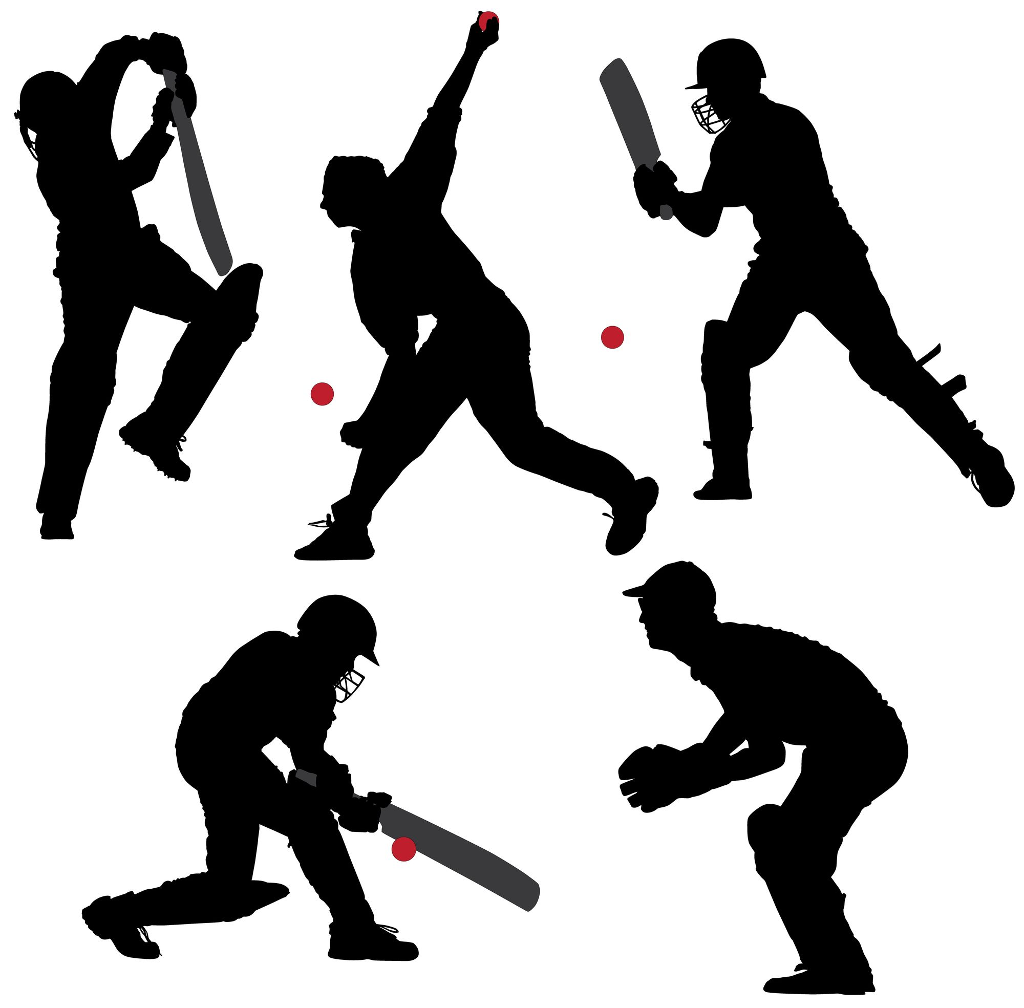 2000x1969 Cricket Sport Silhouette On White Background. Llustration