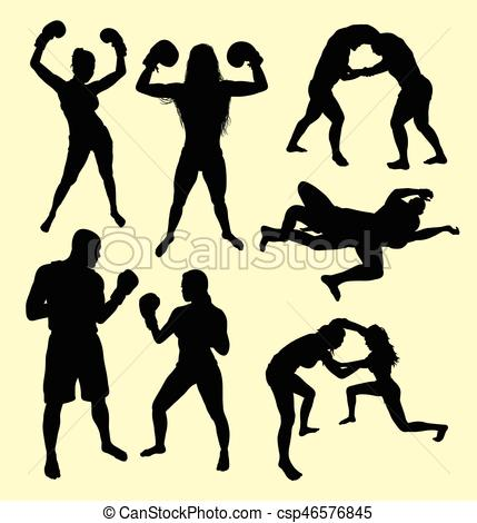 429x470 Fighting Male And Female Sport Silhouette. Good Use For Eps