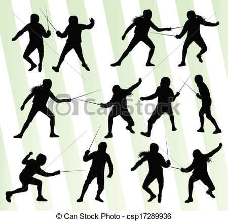 450x435 Fencing Sport Silhouette Vector Background Set For Poster Vectors