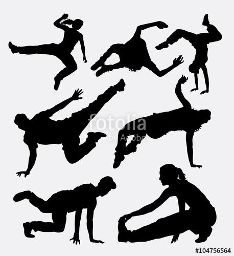 458x500 Parkour, Martial Art, Running And Jumping Sport Silhouette. Good