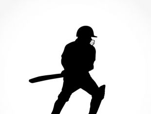 310x233 Sport Silhouette Cricket Batsman Playing Dot Free Vector Free