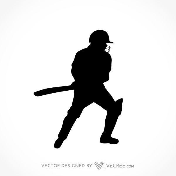 600x600 Sport Silhouette Cricket Batsman Playing Straight Drive Free