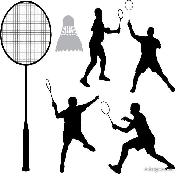 588x586 4 Designer Badminton Sport Silhouette Vector Material