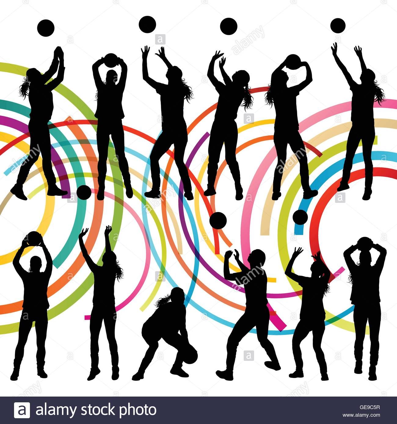 1300x1390 Active Young Women Volleyball Player Sport Silhouettes In Abstract
