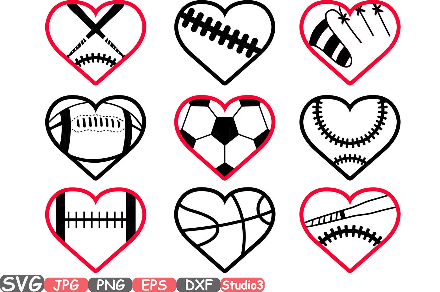 1400x930 Sports Heart Balls Silhouette Svg Cutting Files Digital Clip Art