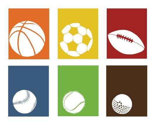 535x430 Sports Room Decor, Sports Nursery Set Of 3, 13 X 19 Art Prints