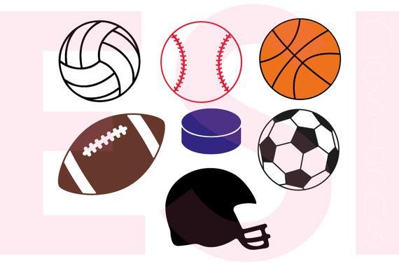 570x380 Sports Svg Files. Baseball, Football, Soccer, Basketball