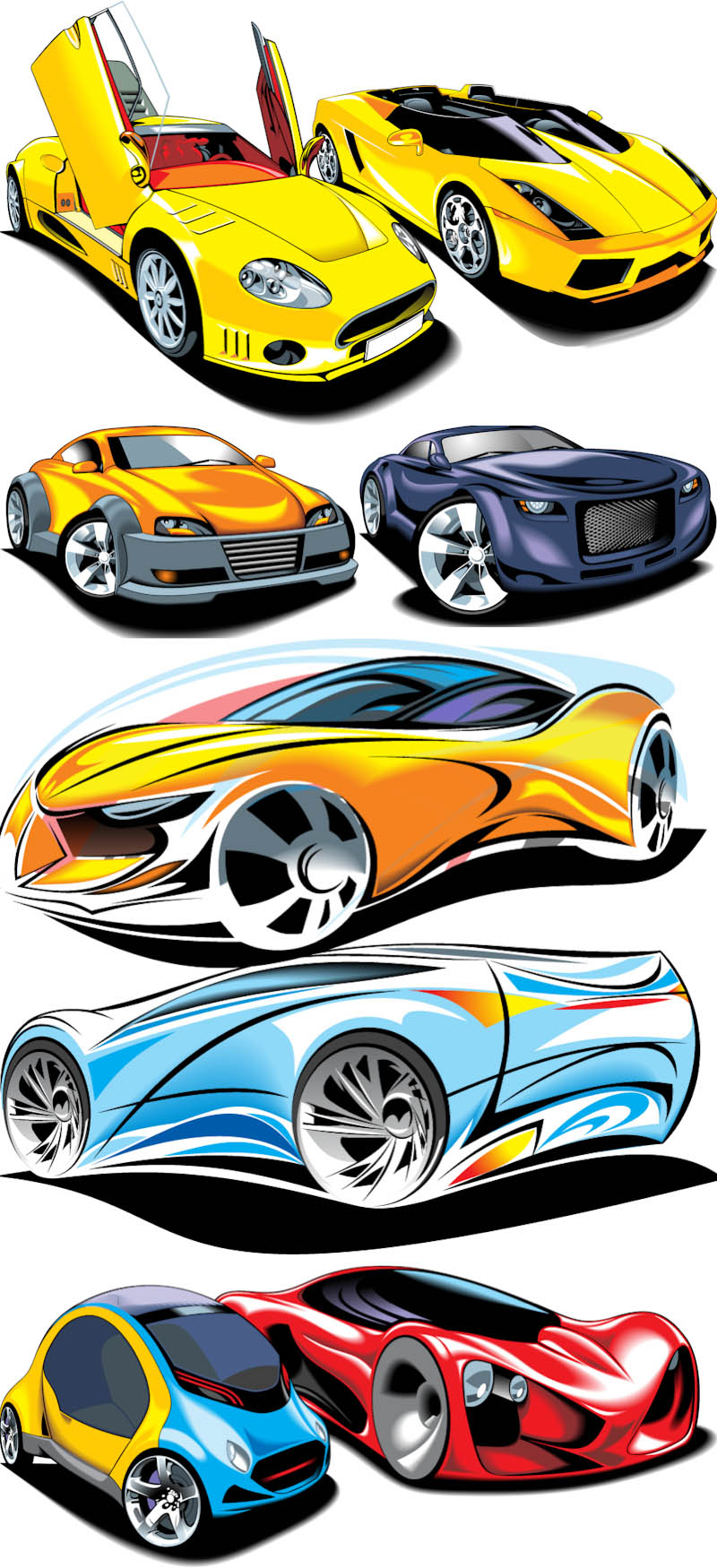 800x1750 Car Types Set Silhouettes Of Vehicles Various Vectors Clipart Eps