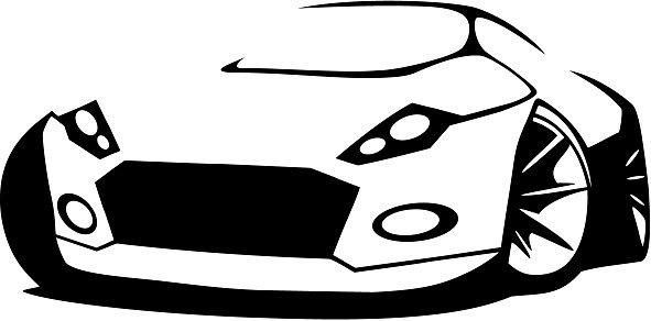 591x292 Vector Silhouette Sports Car Premium Clipart