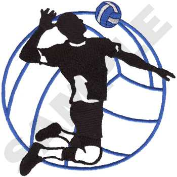 350x350 Male Volleyball Silhouette Embroidery Designs, Machine Embroidery