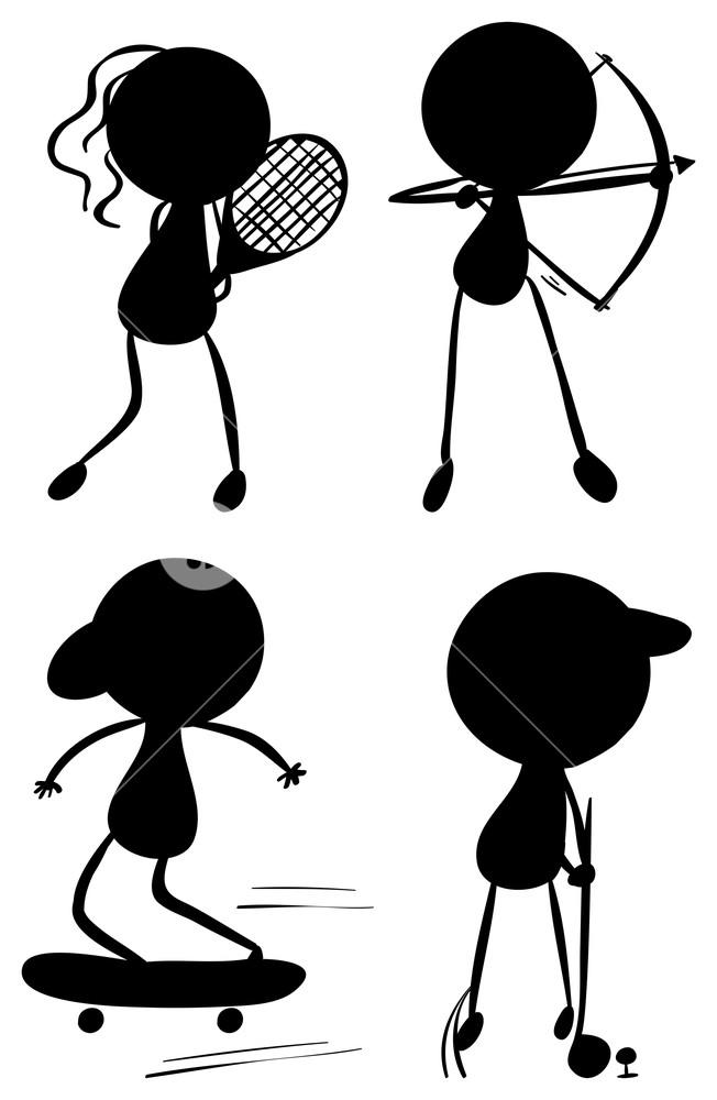 652x1000 Illustration Of The Silhouettes Of People Playing Sports On