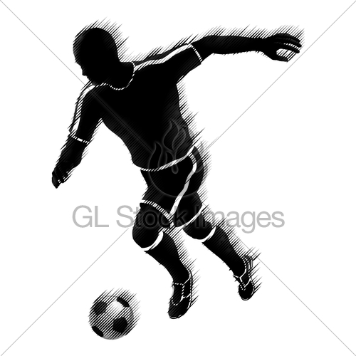 500x500 Soccer Football Player Sports Silhouette Concept Gl Stock Images