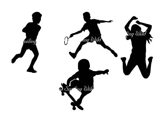 570x403 Childrens Sport Svg Kid's Gym Silhouette Print Child Jumping