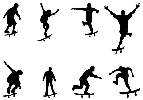 500x350 Skateboard Silhouette Clipart