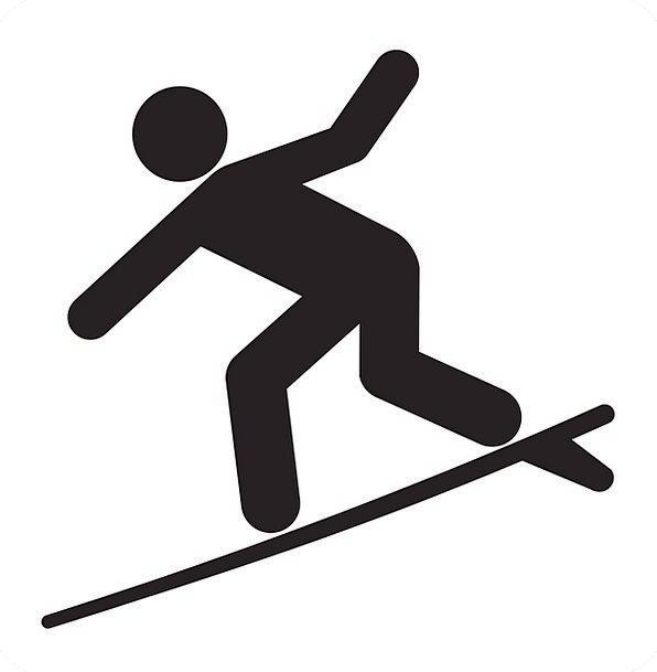 596x609 Surfer, Outline, Surf, Spray, Silhouette, Beach, Sport, Diversion