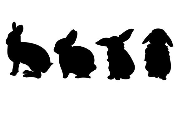 570x403 Adorable Black And White Monochrome Silhouette Of Easter Bunnies