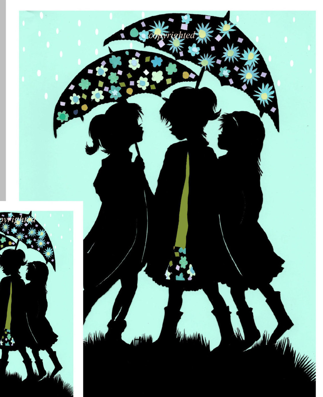 1122x1379 Silhouette Friends Spring Card Rainy Day Card Sisters