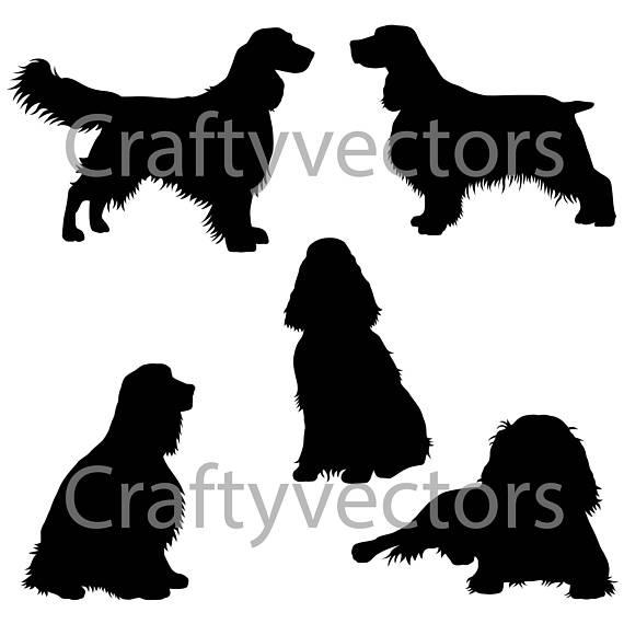 570x570 English Springer Spaniel Dog Svg Silhouettes