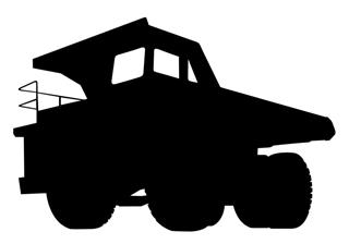 320x224 Dump Truck Silhouette 3 Decal Sticker