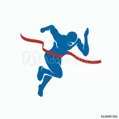 500x500 Sprinter And Finish Tape. Sports Vector Silhouette Of The Winner