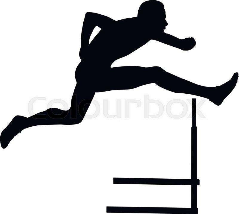 800x715 Sprinter Runner Men Running Hurdles Black Silhouette Stock