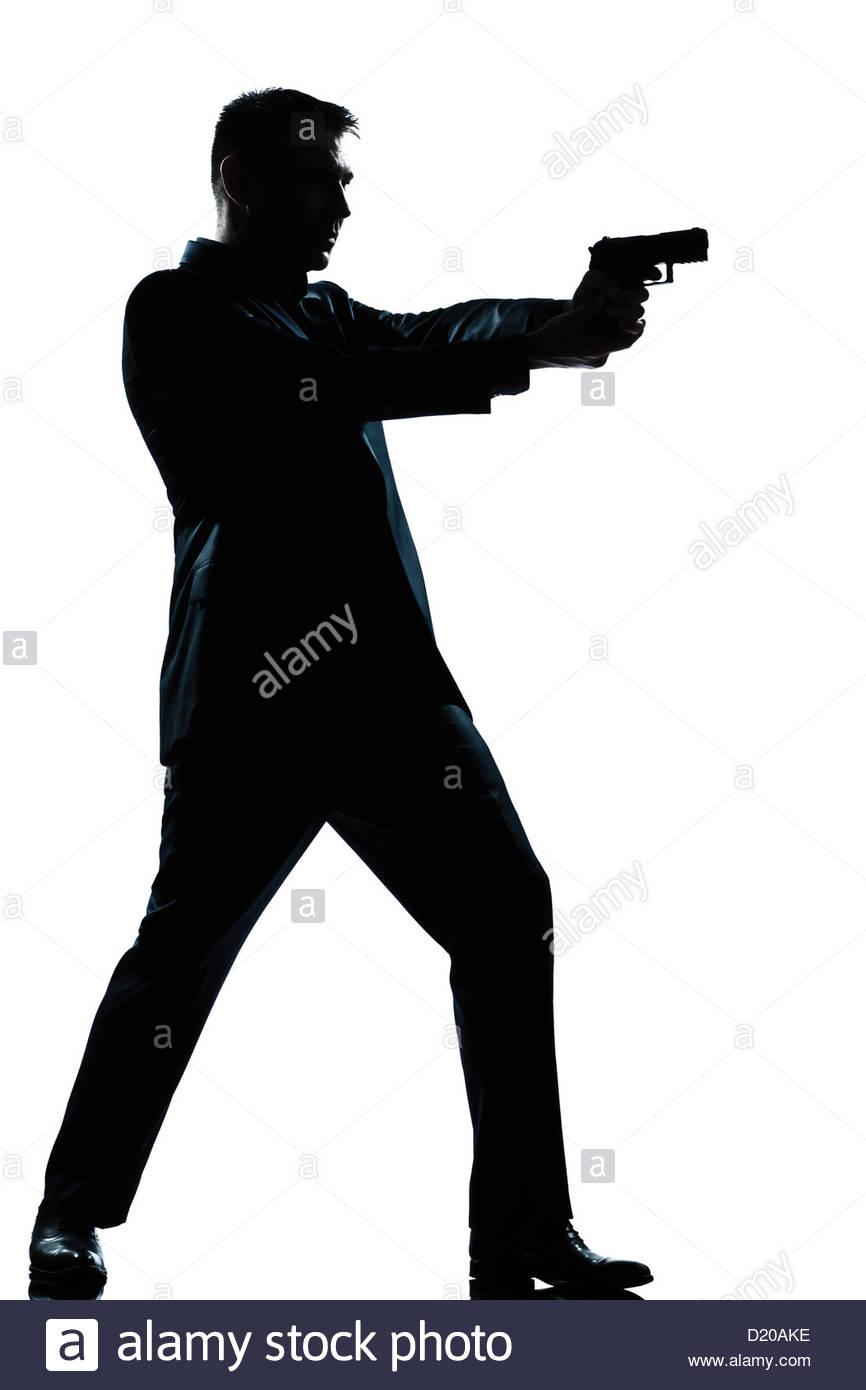866x1390 One Caucasian Spy Criminal Policeman Detective Man Aiming Shooting