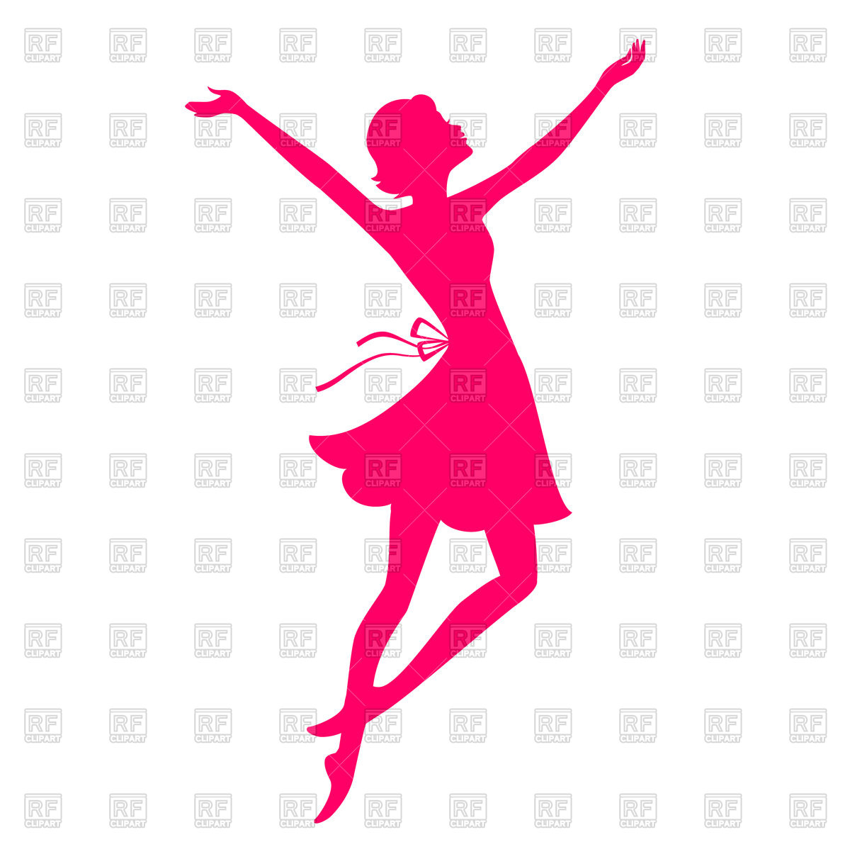 1200x1188 Pink Silhouette Of Dancing Young Woman Royalty Free Vector Clip