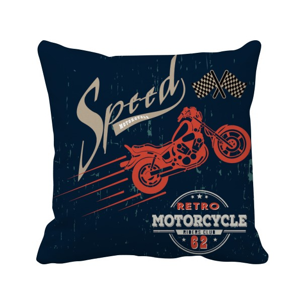 600x600 Mechanical Motorcycle Pattern Silhouette Square Throw Pillow