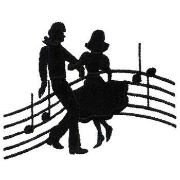 350x350 Square Dancers Silhouette Embroidery Designs, Machine Embroidery