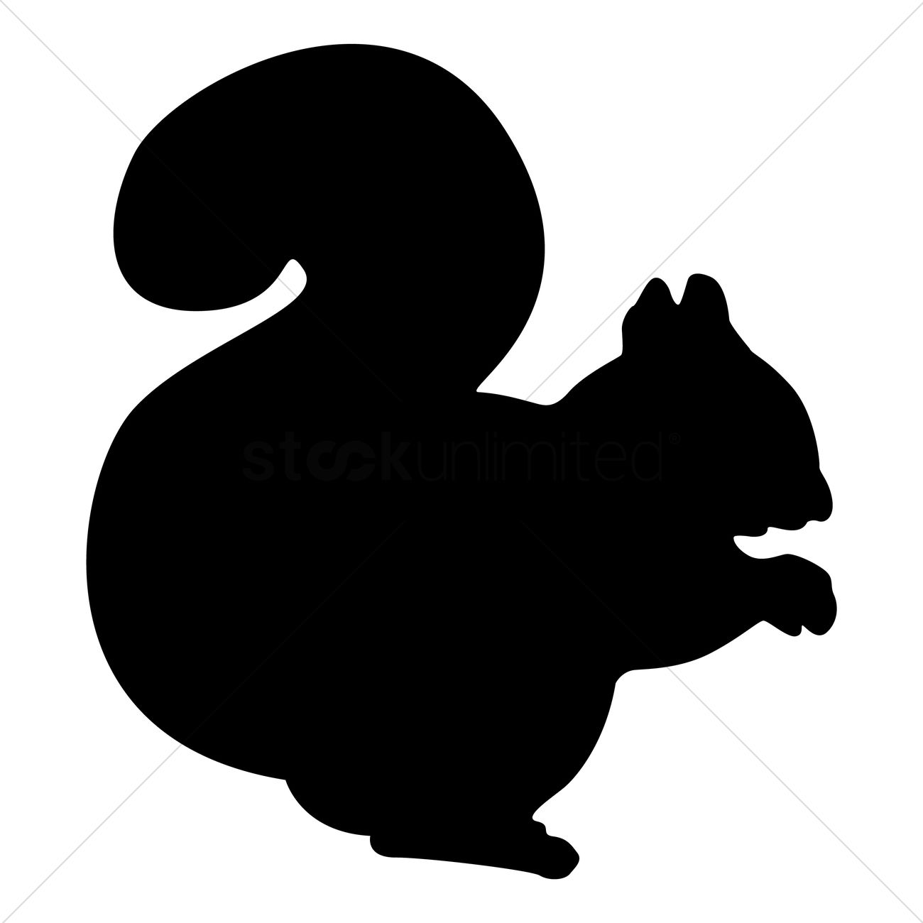 1300x1300 Silhouette Of Squirrel Vector Image