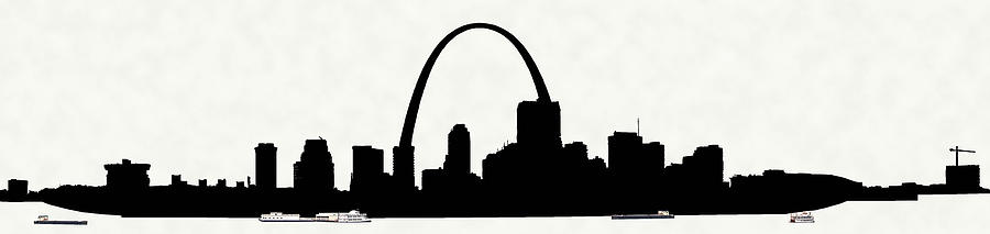 900x213 St Louis Silhouette With Boats Photograph By C H Apperson