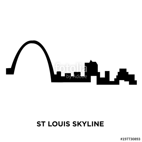 500x500 St Louis Skyline Silhouette On White Background, Vector