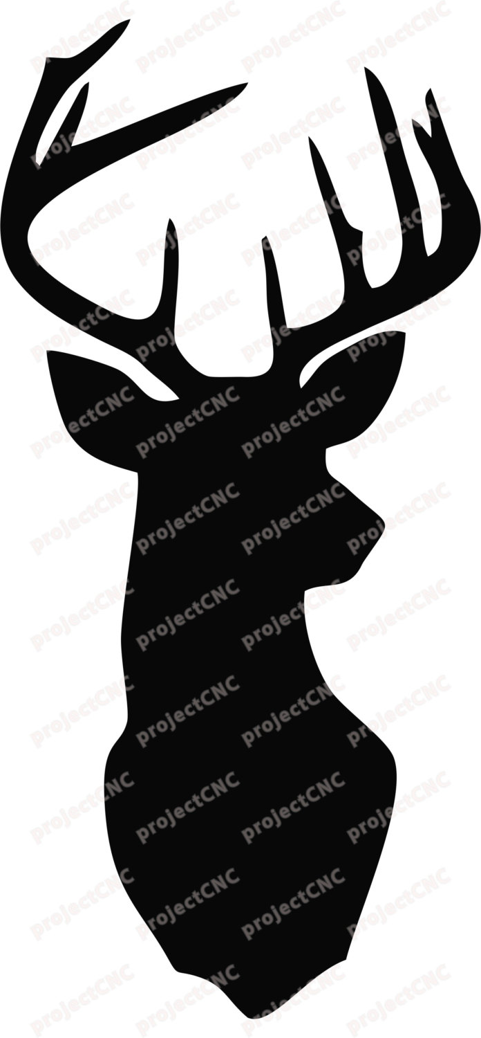 696x1500 Deer Head Wall Art Decor Stag Head Antlers Cnc Cut File Laser Dxf