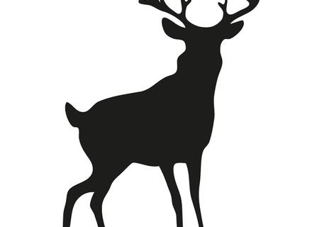 440x320 Chalkboard Deer Head Silhouette Print Stag Antlers Wall Art Home