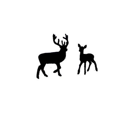440x395 Mini Buck And Doe Lovers Deer Silhouette Rubber Stamp Set