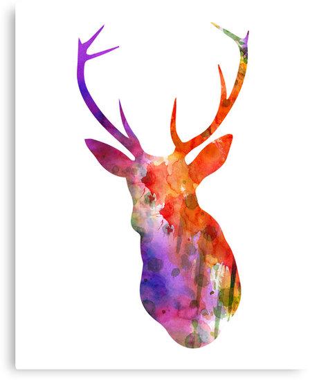 448x550 Deer Silhouette (In Watercolor) Canvas Prints By Advertisingwv