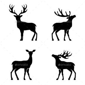 290x290 Deer Silhouette Collection Silhouettes
