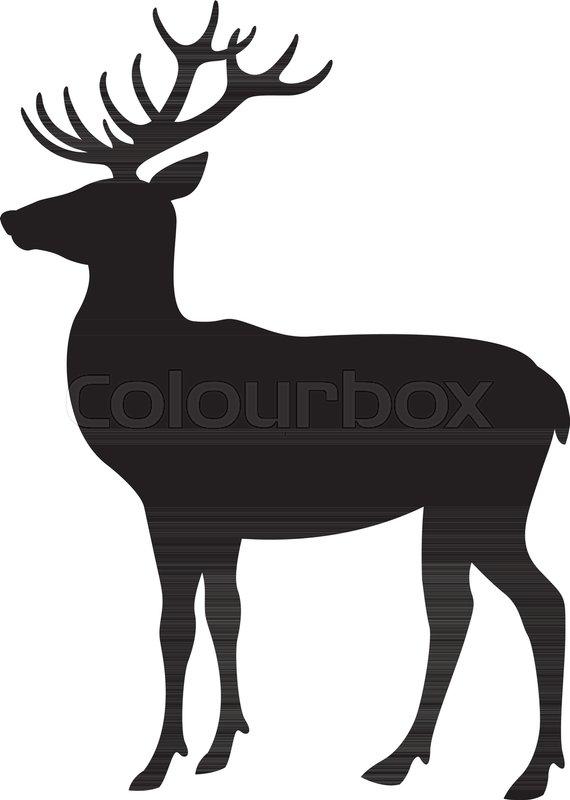 570x800 Deer vector illustration flat style black silhouette profile side