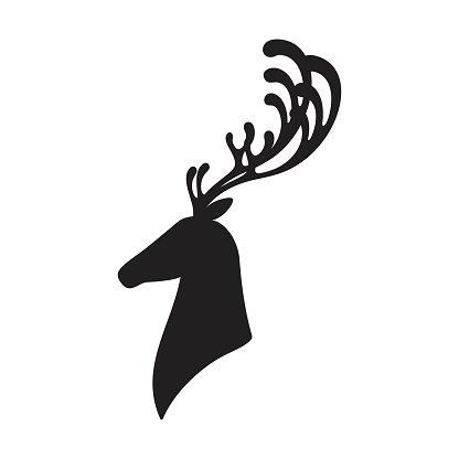 416x416 Deer Head Vector Illustration Isolated Elk Silhouette premium